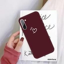 Voor Galaxy Note 10 Three Dots Love-heart Patroon Kleurrijke MatTPU Telefoon Beschermhoes (Wijn Rood)