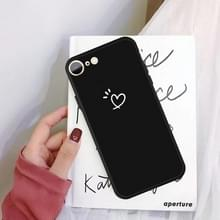 Voor iPhone SE 2020 / 8 / 7 Three Dots Love-heart Pattern Kleurrijke Matt TPU Telefoon Beschermhoes (Zwart)