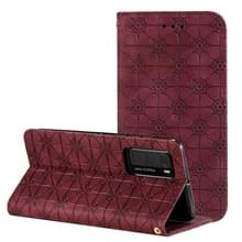 Voor Huawei P40 Lucky Flowers Embossing Pattern Magnetic Horizontal Flip Leather Case met Holder & Card Slots(Wine Red)