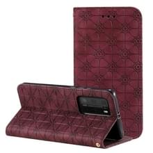 Voor Huawei P40 Pro Lucky Flowers Embossing Pattern Magnetic Horizontal Flip Leather Case met Holder & Card Slots(Wine Red)