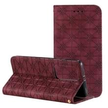 Voor Huawei P40 Pro+ Lucky Flowers Embossing Pattern Magnetic Horizontal Flip Leather Case met Holder & Card Slots(Wine Red)