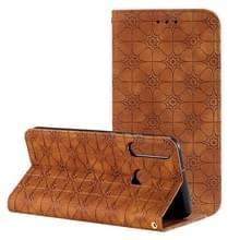 Voor Huawei P40 lite E / Y7p 2020 Lucky Flowers Embossing Pattern Magnetic Horizontal Flip Leather Case met Holder & Card Slots(Brown)