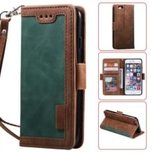 Voor iPhone SE 2020 / 8 / 7 Retro Splicing Horizontale Flip Lederen case met kaartslots & portemonnee(groen)