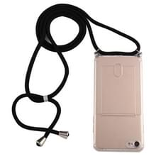 Voor iPhone 8 / 7 Transparante TPU beschermhoes met Lanyard & Card Slot(Transparant)