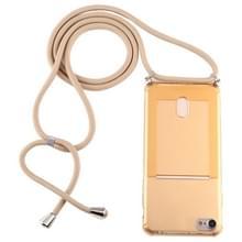 Voor iPhone 8 / 7 Transparante TPU beschermhoes met Lanyard & Card Slot(Goud)