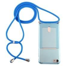 Voor iPhone 8 / 7 Transparante TPU beschermhoes met Lanyard & Card Slot(Blauw)