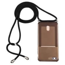 Voor iPhone 8 Plus / 7 Plus Transparante TPU beschermhoes met Lanyard & Card Slot(Zwart)