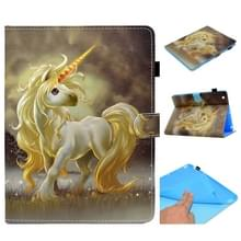 Voor iPad 2 / 3 / 4 Painted Horizontal Flat Leather Case met Sleep Functie & Card Slot & Buckle Anti-skid Strip & Bracket & Wallet(Unicorn)