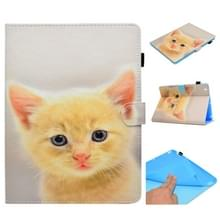 Voor iPad 2 / 3 / 4 Painted Horizontal Flat Leather Case met Sleep Functie & Card Slot & Buckle Anti-skid Strip & Bracket & Wallet(Cute Cat)