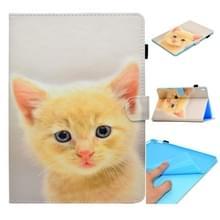 Voor iPad Pro 9 7 inch Gespoten horizontale platte leren hoes met slaapfunctie & kaartslot & gesp antispad Strip & Bracket & Wallet(Cute Cat)