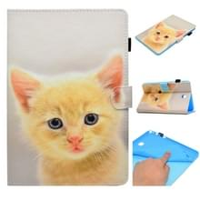 Voor Galaxy Tab A 8.0 (2015) T350 Painted Horizontal Flat Leather Case with Sleep Function & Card Slot & Buckle Anti-skid Strip & Bracket & Wallet(Cute Cat)