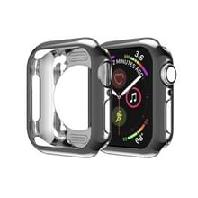 Voor Apple Watch Series 5 & 4 44mm Plating TPU Round Hole Hollowing Protective Case(Zwart)