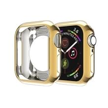 Voor Apple Watch Series 5 & 4 44mm Plating TPU Round Hole Hollowing Protective Case(Goud)