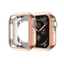 Voor Apple Watch Series 5 & 4 44mm Plating TPU Round Hole Hollowing Protective Case (Rose Gold)