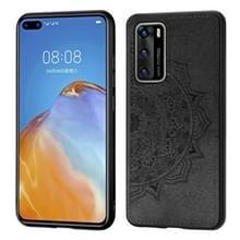 Voor Huawei P40 Mandala reliëf doek + PC + TPU mobiele telefoon case met magnetische functie (zwart)