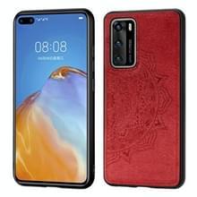 Voor Huawei P40 Mandala reliëf doek + PC + TPU mobiele telefoon case met magnetische functie (rood)