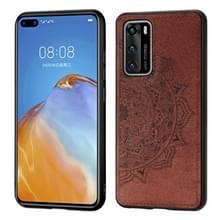 Voor Huawei P40 Mandala Reliëf Doek + PC + TPU mobiele telefoon case met magnetische functie (Bruin)