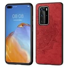 Voor Huawei P40 Pro Mandala reliëf doek + PC + TPU mobiele telefoon case met magnetische functie (rood)