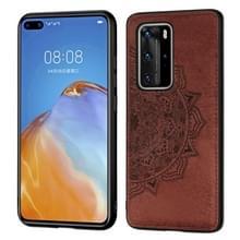 Voor Huawei P40 Pro Mandala reliëf doek + PC + TPU mobiele telefoon case met magnetische functie (bruin)