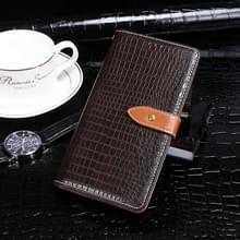 Voor Lenovo K10 Note idewei Crocodile Texture Horizontale Flip Lederen Case met Holder & Card Slots & Wallet(Donkerbruin)