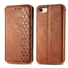 Voor iPhone SE 2020 / 8 / 7 Cubic Grid Geperst horizontal flip magnetische lederen behuizing met houder & kaartslots & portemonnee(bruin)