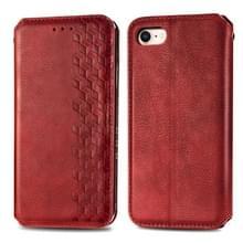 Voor iPhone SE 2020 / 8 / 7 Cubic Grid Geperst horizontal flip magnetische lederen behuizing met houder & kaartslots & portemonnee(rood)