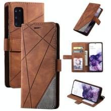 Voor Samsung Galaxy S20 Plus Skin Feel Splicing Horizontal Flip Leather Case met Holder & Card Slots & Wallet & Photo Frame(Brown)