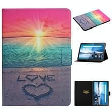 Voor Lenovo Tab M10 X605F X505 Gekleurd tekenpatroon Horizontaal Flip Lederen kast met houder & kaartslots(Sunrise)