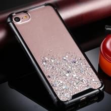Voor iPhone 6 / 6s Four-Corner Shockproof Glitter Powder Acryl + TPU Beschermhoes(Zwart)