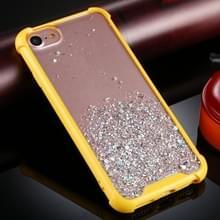 Voor iPhone SE 2020 / 8 / 7 Vierhoek schokbestendig glitterpoeder acryl + TPU beschermhoes (geel)