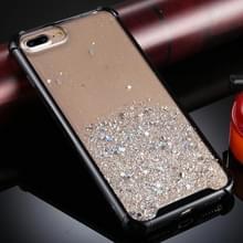 Voor iPhone 8 Plus / 7 Plus Vierhoeks schokbestendig glitterpoeder acryl + TPU beschermhoes(Zwart)