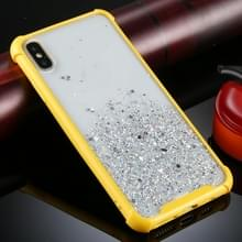 Voor iPhone XS / X Vierhoek schokbestendige glitterpoeder acryl + TPU beschermhoes (geel)