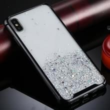Voor iPhone XS / X Four-Corner Shockproof Glitter Powder Acryl + TPU Beschermhoes(Zwart)