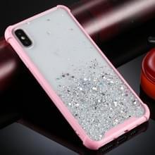 Voor iPhone XS / X Four-Corner Shockproof Glitter Powder Acryl + TPU Beschermhoes(Roze)