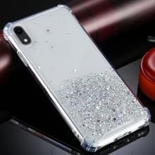 Voor iPhone XR Vierhoek schokbestendige glitterpoeder acryl + TPU beschermhoes (transparant)