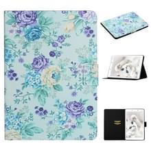 Voor Samsung Galaxy Tab A 8.0 2019 Bloempatroon Horizontaal Flip Lederen kast met kaartslots & houder (paarse bloem)