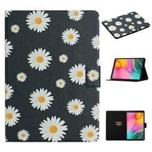 Voor Samsung Galaxy Tab A 10.1 (2019) Bloempatroon Horizontaal Flip Lederen hoesje met kaartslots & houder (kleine madeliefjes)