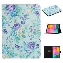 Voor Samsung Galaxy Tab A 10.1 (2019) Bloempatroon Horizontaal Flip Lederen hoesje met kaartslots & houder(paarse bloem)