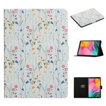 Voor Samsung Galaxy Tab A 10.1 (2019) Bloempatroon Horizontaal Flip Lederen hoesje met kaartslots & houder(klein bloemig)