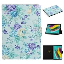 Voor Samsung Galaxy Tab S5e T720 Bloempatroon Horizontaal Flip Lederen hoesje met kaartslots & houder(paarse bloem)
