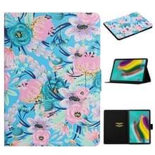 Voor Samsung Galaxy Tab S5e T720 Bloempatroon Horizontaal Flip Lederen hoesje met kaartslots & houder(Roze Bloem)