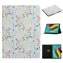 Voor Samsung Galaxy Tab S5e T720 Bloempatroon Horizontaal Flip Lederen hoesje met kaartslots & houder(small floral)