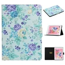 Voor iPad 5 Bloem patroon horizontale flip lederen behuizing met kaartslots & houder (paarse bloem)