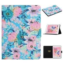 Voor iPad 5 Bloem patroon horizontale flip lederen behuizing met kaartslots & houder (roze bloem)