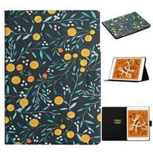 Voor iPad Mini 2019 Bloempatroon Horizontaal Flip Lederen hoesje met kaartslots & houder(geel fruit)