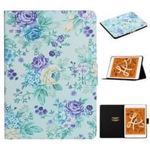 Voor iPad Mini 4 & 3 & 2 & 1 Bloempatroon Horizontaal Flip Lederen kast met kaartslots & houder(paarse bloem)