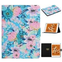Voor iPad Mini 4 & 3 & 2 & 1 Bloempatroon Horizontaal Flip Lederen kast met kaartslots & houder(Roze Bloem)