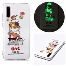 Voor Huawei P30 Lichtgevende TPU Soft Protective Case(Cats)