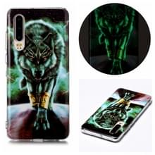Voor Huawei P30 Luminous TPU Soft Protective Case (Woeste Wolf)