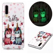 Voor Huawei P30 Lichtgevende TPU Soft Protective Case (Couple Unicorn)